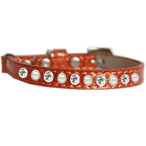 Pearl and Clear Jewel Ice Cream Cat Safety Collar - Orange   The Pet Boutique