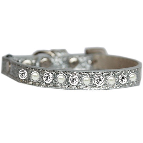 Pearl and Clear Jewel Ice Cream Cat Safety Collar - Silver   The Pet Boutique