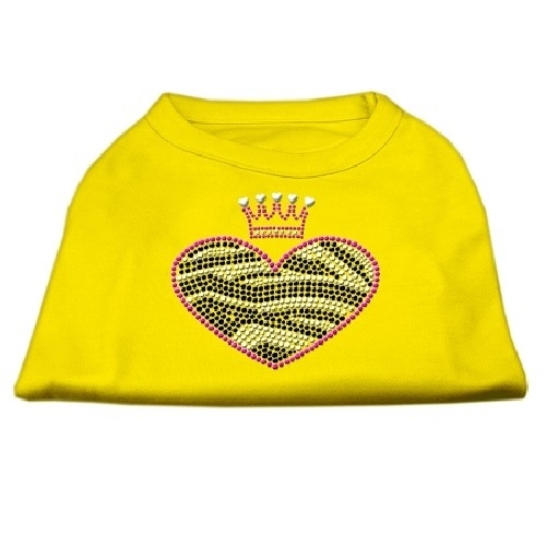 Zebra Heart Rhinestone Dog Shirt - Yellow | The Pet Boutique