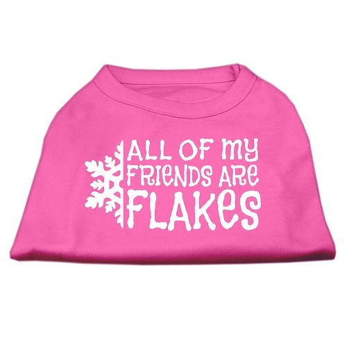All My Friends Are Flakes Screen Print Pet Shirt - Bright Pink | The Pet Boutique