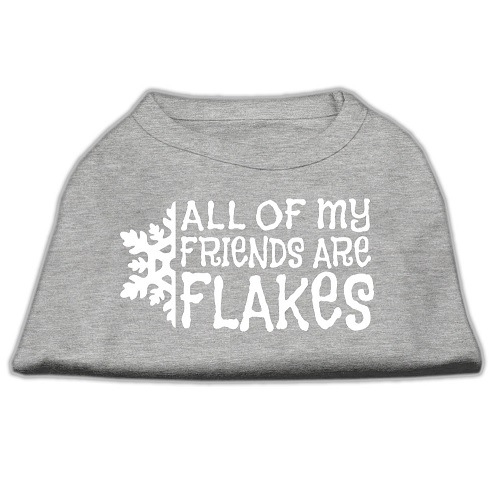 All My Friends Are Flakes Screen Print Pet Shirt - Grey | The Pet Boutique