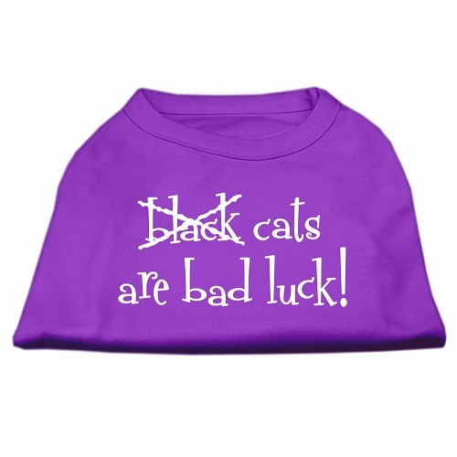 Black Cats Are Bad Luck Screen Print Pet Shirt - Purple | The Pet Boutique