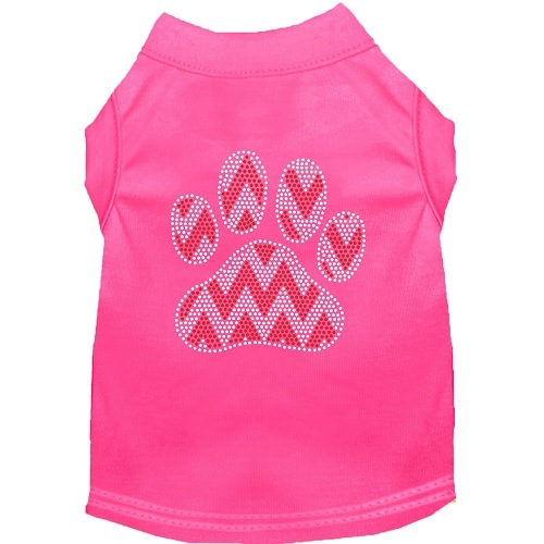 Candy Cane Chevron Paw Rhinestone Dog Shirt - Bright Pink | The Pet Boutique