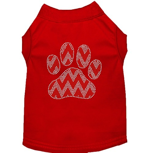 Candy Cane Chevron Paw Rhinestone Dog Shirt - Red | The Pet Boutique