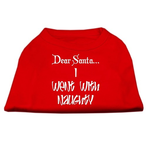 Dear Santa I Went With Naughty Screen Print Pet Shirt - Red | The Pet Boutique