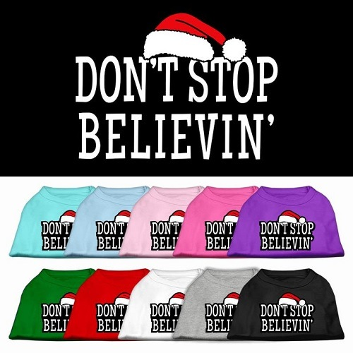 Don't Stop Believin' Screen Print Pet Shirt | The Pet Boutique