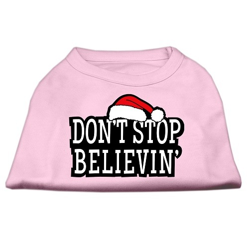 Don't Stop Believin' Screen Print Pet Shirt - Light Pink | The Pet Boutique