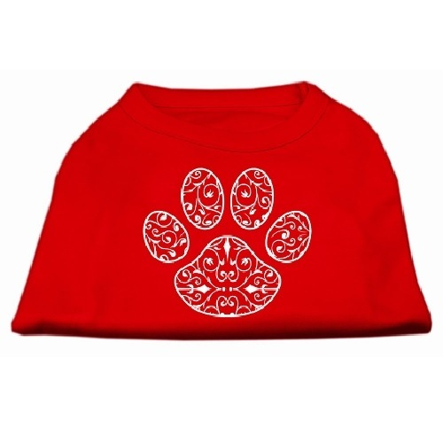 Henna Paw Screen Print Pet Shirt - Red | The Pet Boutique