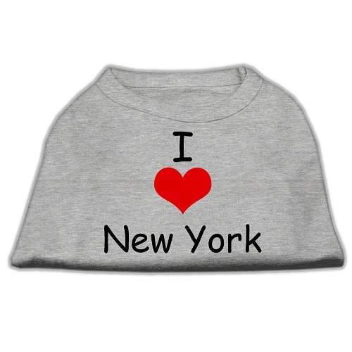 I Love New York Screen Print Pet Shirt - Grey | The Pet Boutique