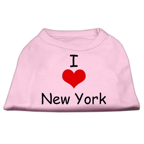I Love New York Screen Print Pet Shirt - Pink | The Pet Boutique