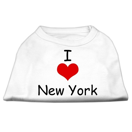 I Love New York Screen Print Pet Shirt - White | The Pet Boutique