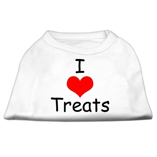 I Love Treats Screen Print Pet Shirt - White | The Pet Boutique