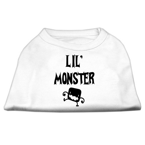 Lil Monster Screen Print Dog Shirt - White | The Pet Boutique