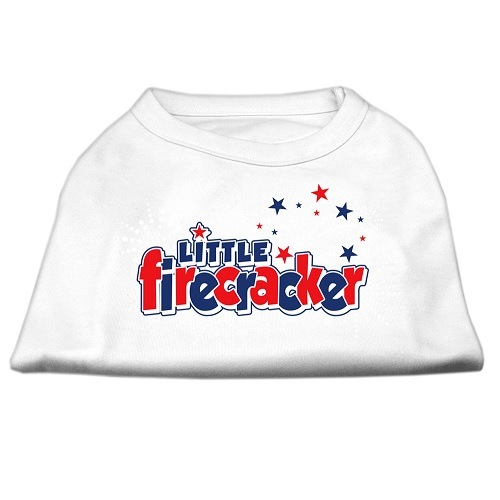 Little Firecracker Screen Print Pet Shirt - White | The Pet Boutique