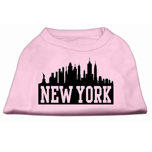New York Skyline Screen Print Pet Shirt - Light Pink | The Pet Boutique