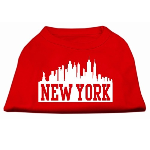 New York Skyline Screen Print Pet Shirt - Red | The Pet Boutique