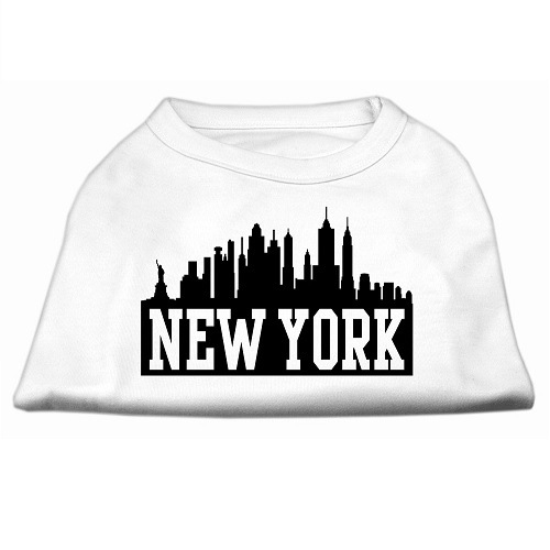 New York Skyline Screen Print Pet Shirt - White | The Pet Boutique