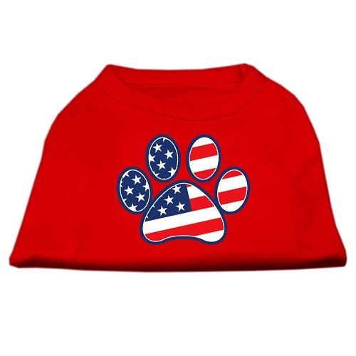 Patriotic Paw Screen Print Dog Shirt - Red | The Pet Boutique