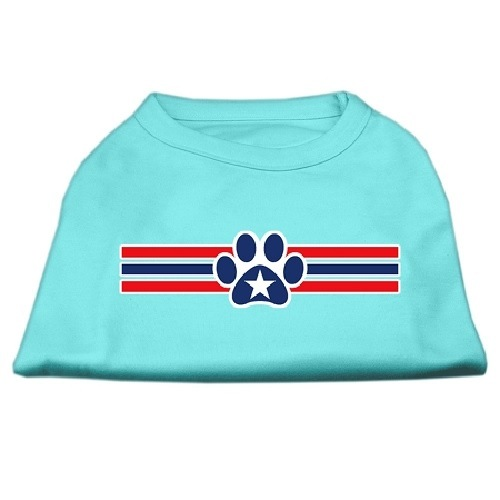 Patriotic Star Paw Screen Print Pet Shirt - Aqua | The Pet Boutique
