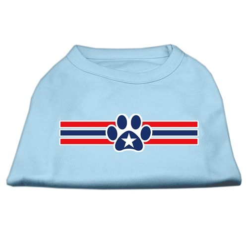 Patriotic Star Paw Screen Print Pet Shirt - Baby Blue | The Pet Boutique