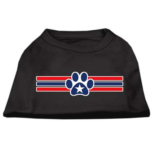 Patriotic Star Paw Screen Print Pet Shirt - Black | The Pet Boutique