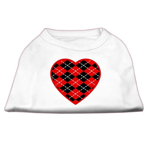 Red Argyle Heart Screen Print Pet Shirt - White | The Pet Boutique