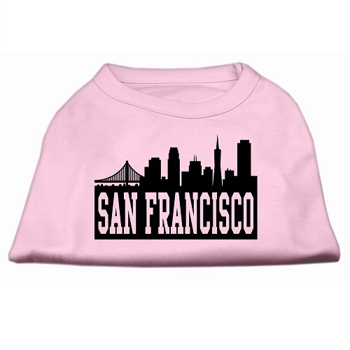 San Francisco Skyline Screen Print Pet Shirt - Light Pink | The Pet Boutique