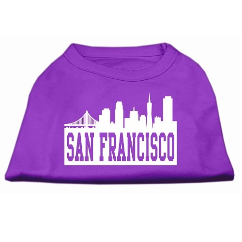San Francisco Skyline Screen Print Pet Shirt - Purple | The Pet Boutique