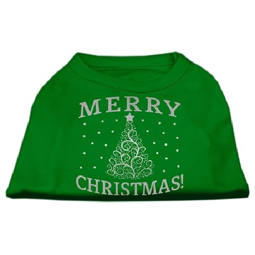 Shimmer Christmas Tree Screen Print Pet Shirt - Emerald Green | The Pet Boutique