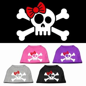 Skull, Crossbones, and Bow Screen Print Pet Shirt | The Pet Boutique