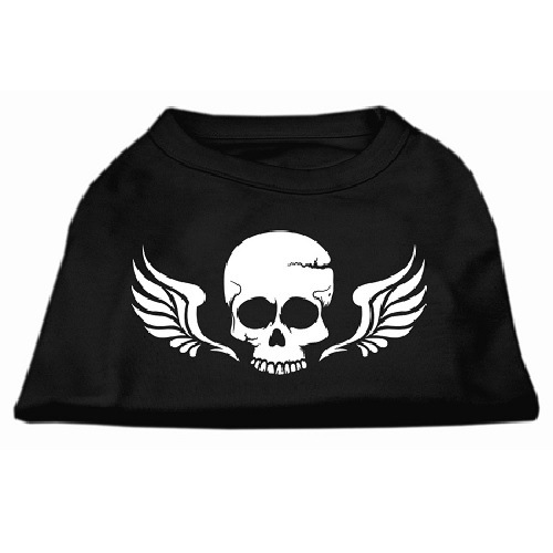 Skull and Wings Screen Print Pet Shirt - Black | The Pet Boutique