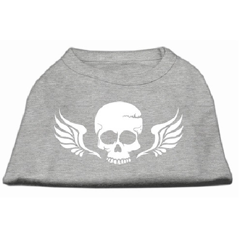 Skull and Wings Screen Print Pet Shirt - Grey | The Pet Boutique