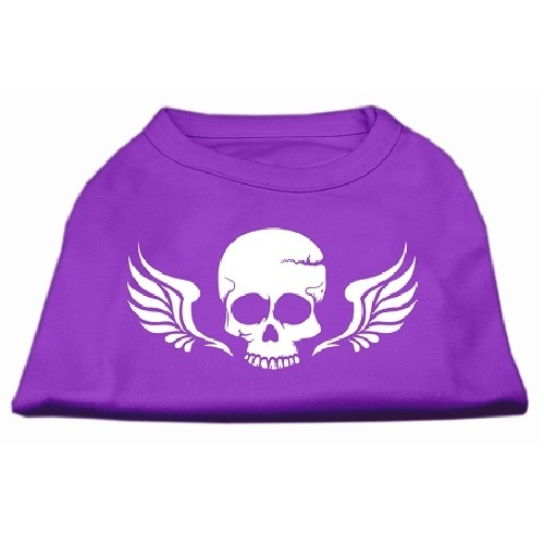 Skull and Wings Screen Print Pet Shirt - Purple | The Pet Boutique