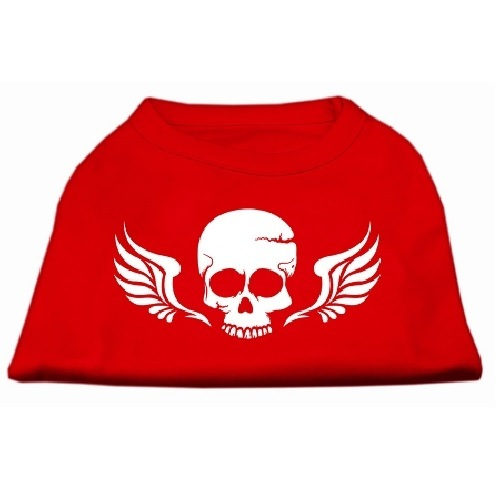 Skull and Wings Screen Print Pet Shirt - Red | The Pet Boutique