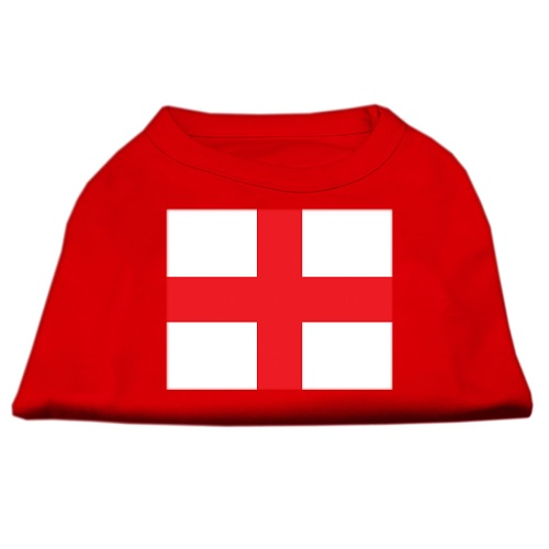 St George's Cross (English Flag) Screen Print Pet Shirt - Red | The Pet Boutique