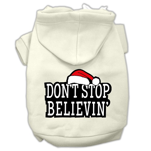 Don't Stop Believin' Screen Print Pet Hoodie - Cream | The Pet Boutique