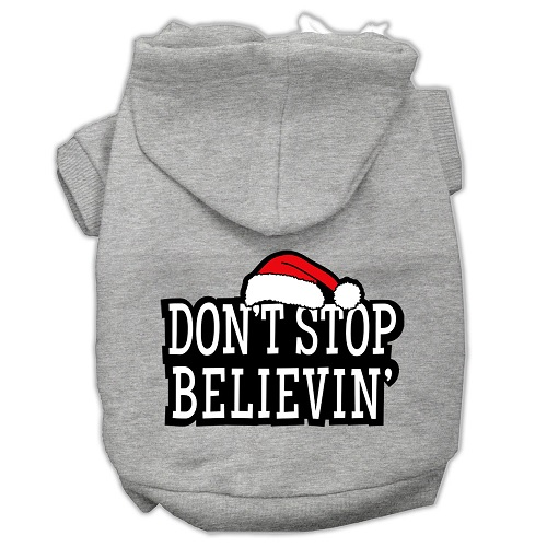 Don't Stop Believin' Screen Print Pet Hoodie - Grey | The Pet Boutique