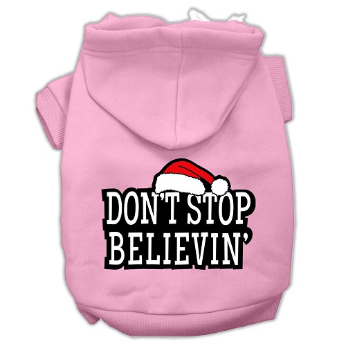 Don't Stop Believin' Screen Print Pet Hoodie - Light Pink | The Pet Boutique