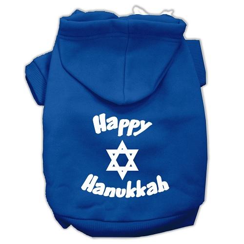 Happy Hanukkah Screen Print Pet Hoodie - Blue | The Pet Boutique