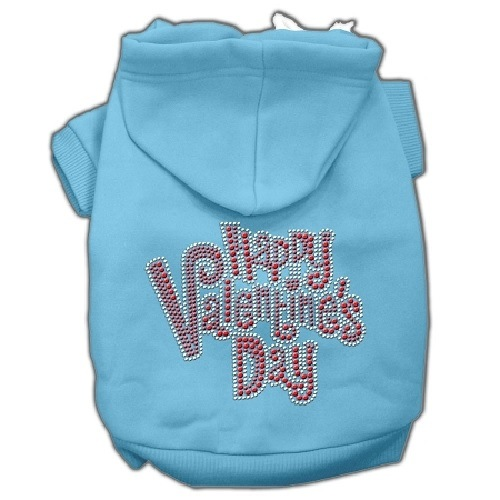 Happy Valentine's Day Rhinestone Pet Hoodie - Baby Blue | The Pet Boutique