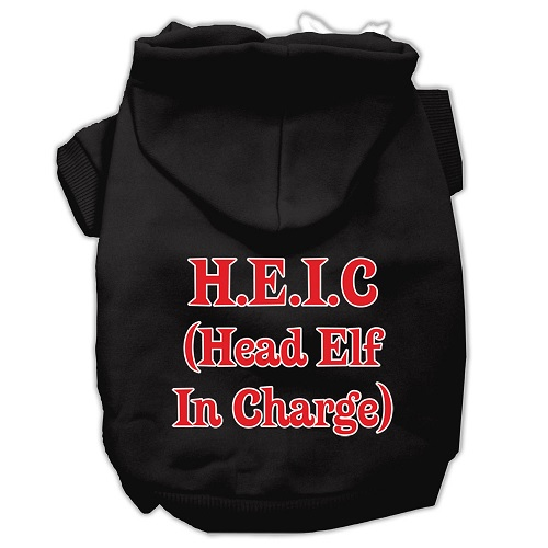 Head Elf In Charge Screen Print Pet Hoodie - Black | The Pet Boutique