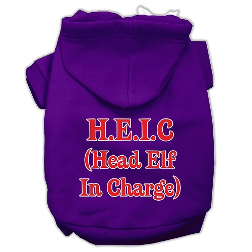 Head Elf In Charge Screen Print Pet Hoodie - Purple | The Pet Boutique