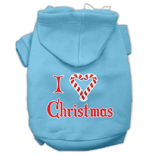 I Heart Christmas Screen Print Pet Hoodie - Baby Blue | The Pet Boutique