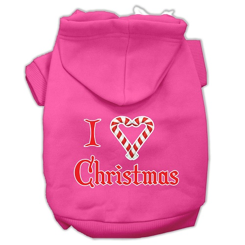 I Heart Christmas Screen Print Pet Hoodie - Bright Pink | The Pet Boutique