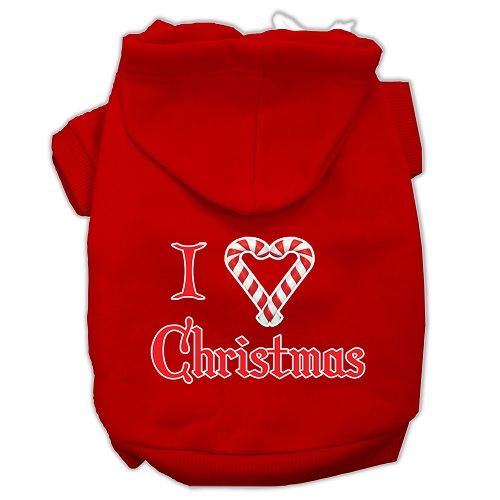 I Heart Christmas Screen Print Pet Hoodie - Red | The Pet Boutique
