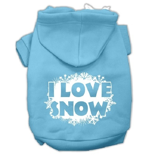 I Love Snow Screen Print Pet Hoodie - Baby Blue | The Pet Boutique