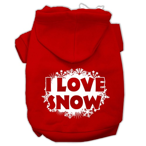 I Love Snow Screen Print Pet Hoodie - Red | The Pet Boutique