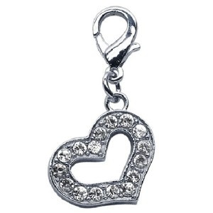 Lobster Claw Heart Collar Charm - Clear | The Pet Boutique