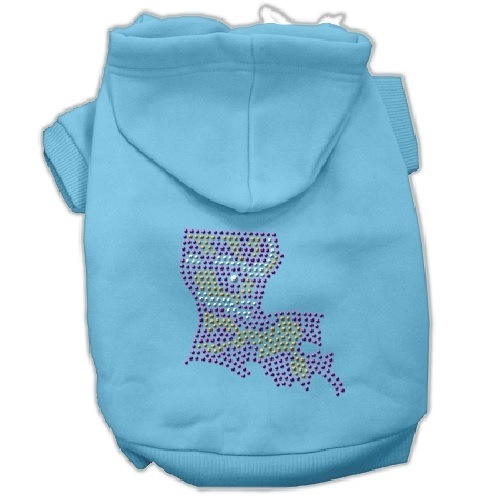 Louisiana Rhinestone Pet Hoodie - Baby Blue | The Pet Boutique