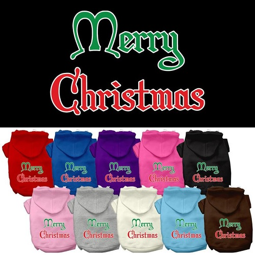 Merry Christmas Screen Print Pet Hoodie | The Pet Boutique